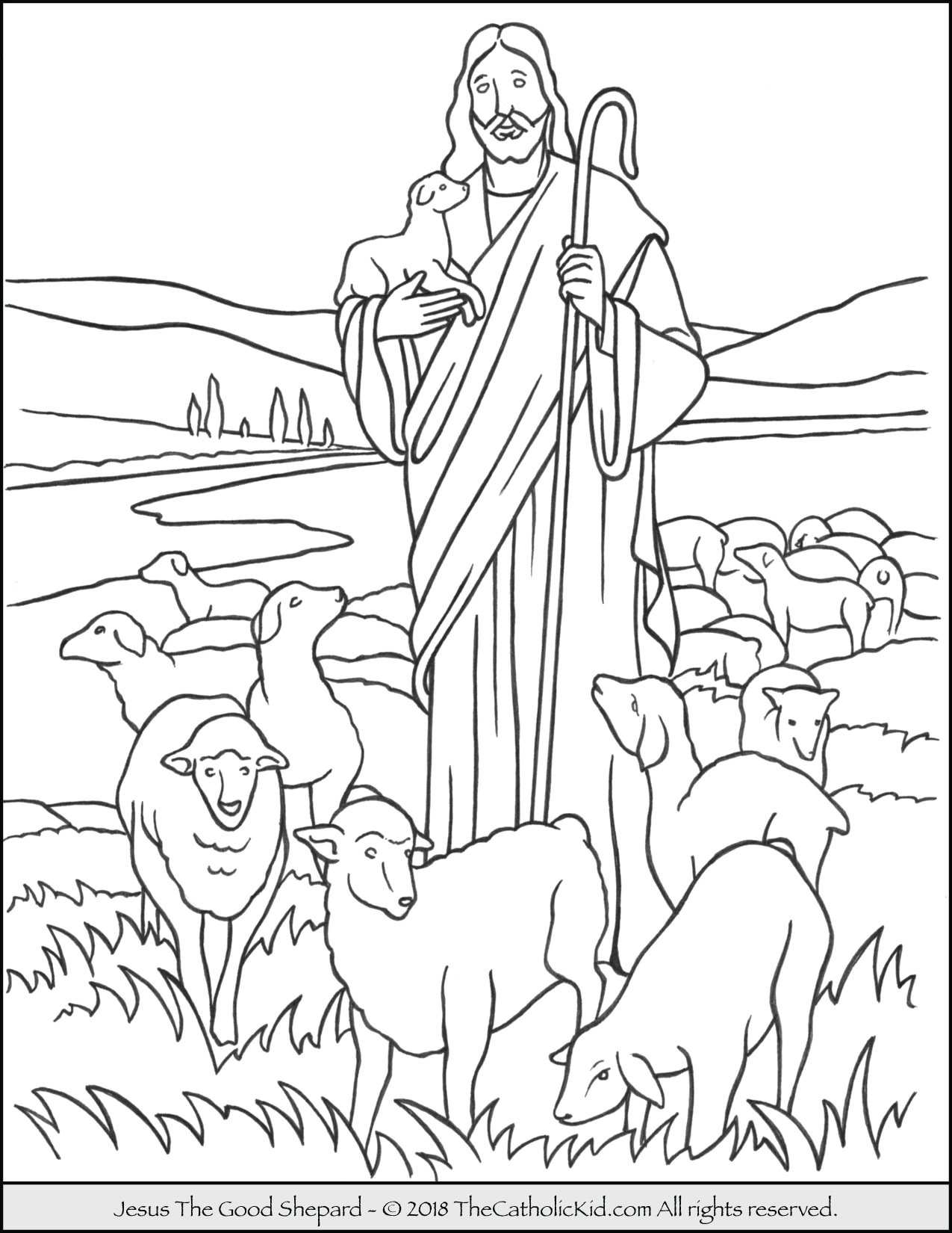 Coloring Pages Of Jesus the Good Shepherd Jesus the Good Shepard Coloring Page