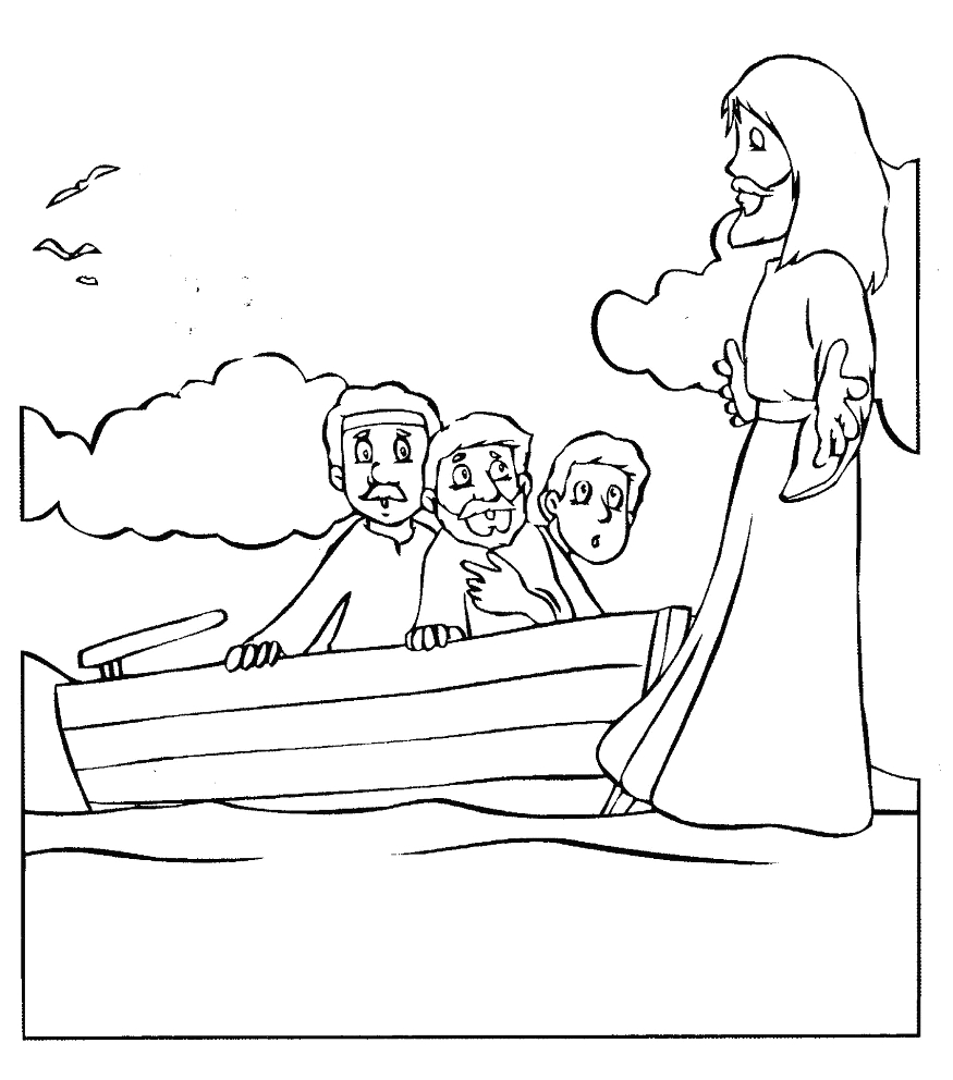 jesus walking on the water coloring pages