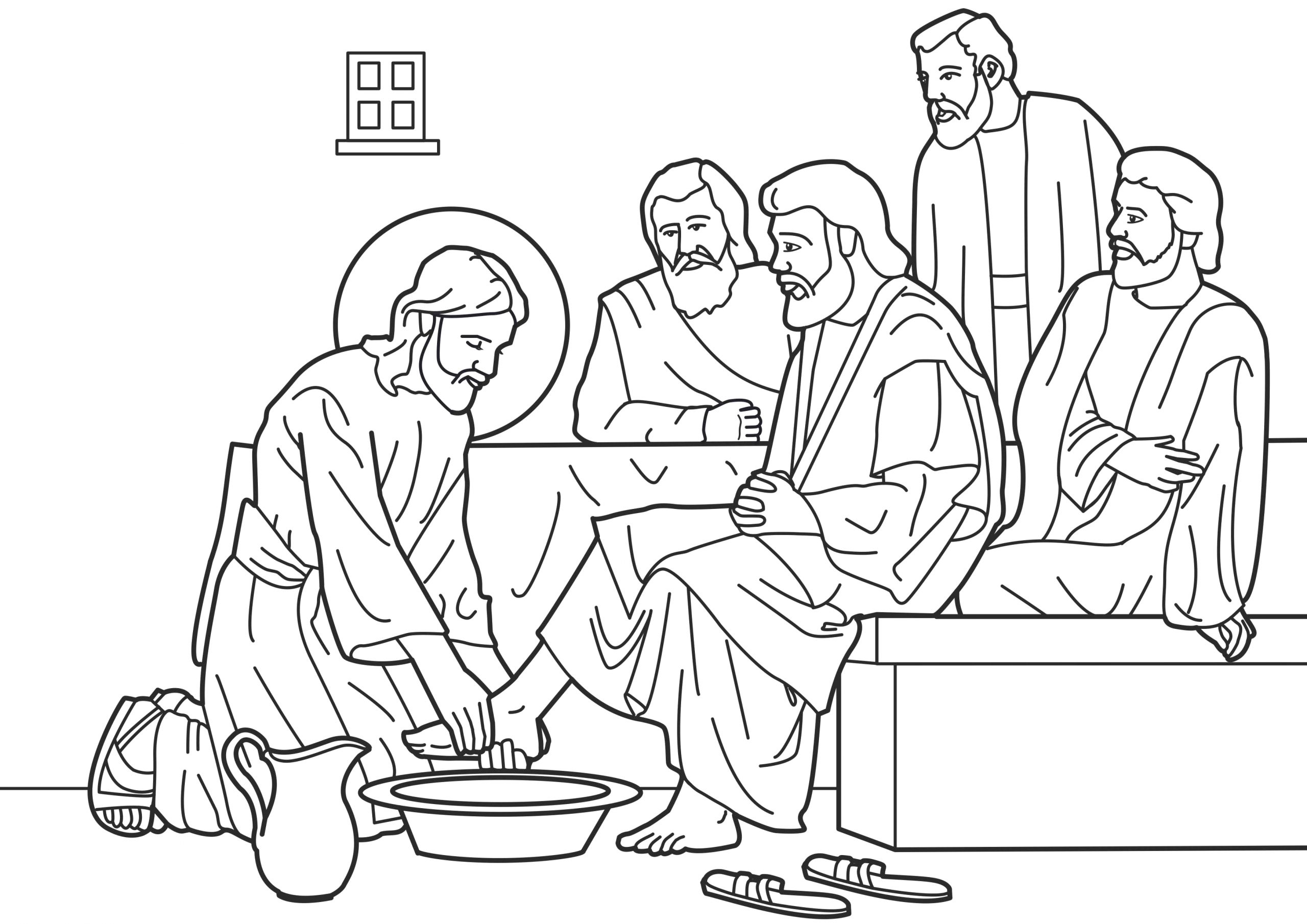 Coloring Pages Of Jesus Washing His Disciples Feet Image Coloring Jesus Washes His Disciples Feet صورة