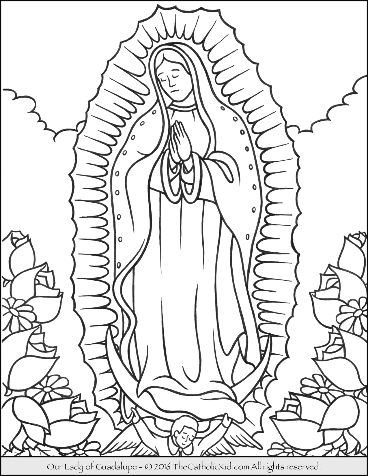 Coloring Pages Of Our Lady Of Guadalupe Our Lady Of Guadalupe Coloring Page thecatholickid
