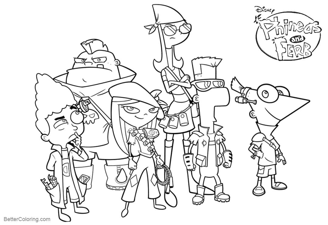 phineas and ferb coloring pages characters