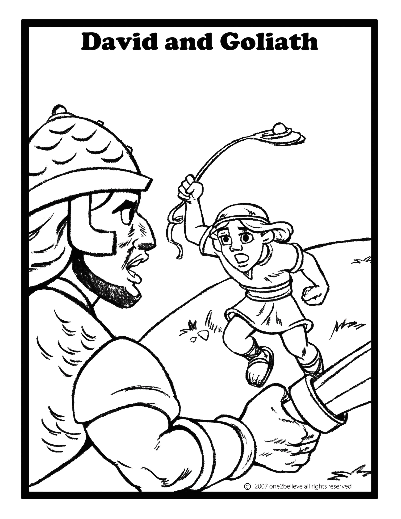 David and Goliath Coloring Pages with Story David and Goliath
