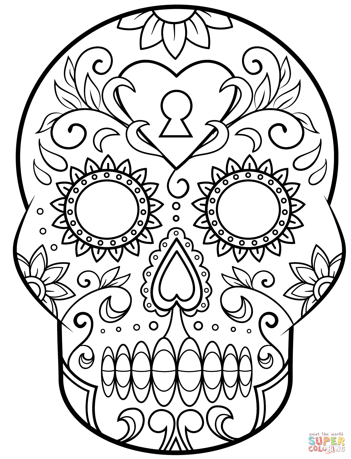 Day Of the Dead Sugar Skull Coloring Page Day Of the Dead Sugar Skull Coloring Page