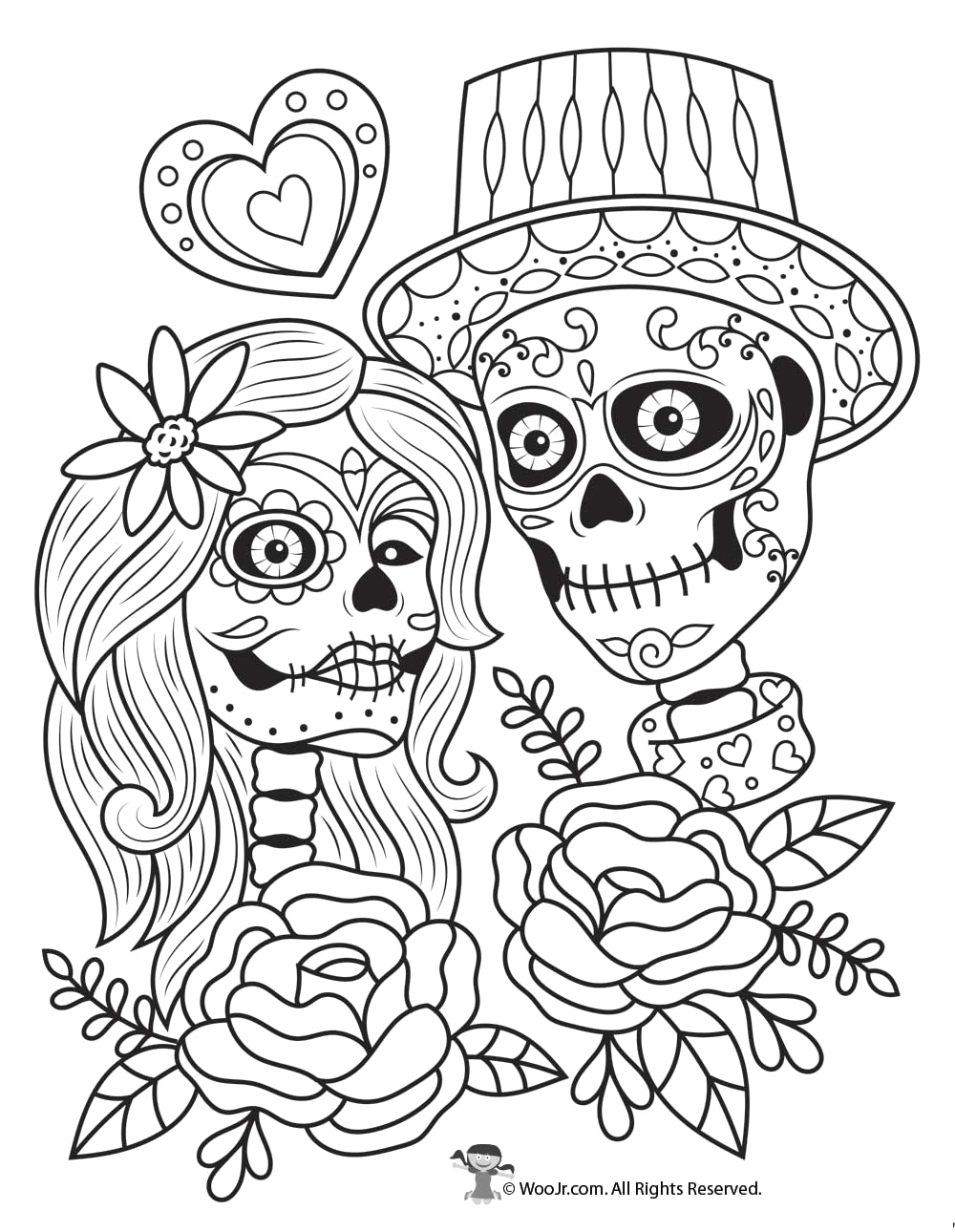 Dia De Los Muertos Couple Coloring Pages Day the Dead Coloring Pages to Print Workberdubeat