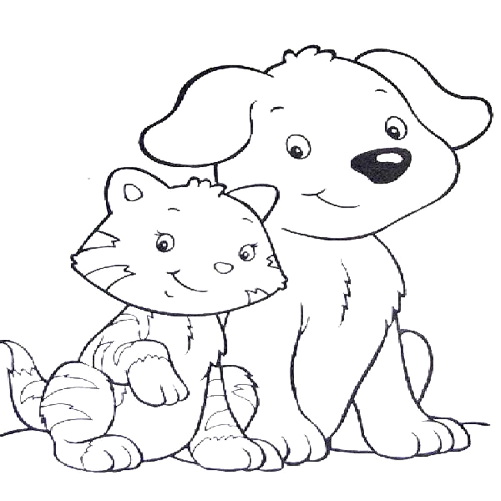 dog and cat drawing