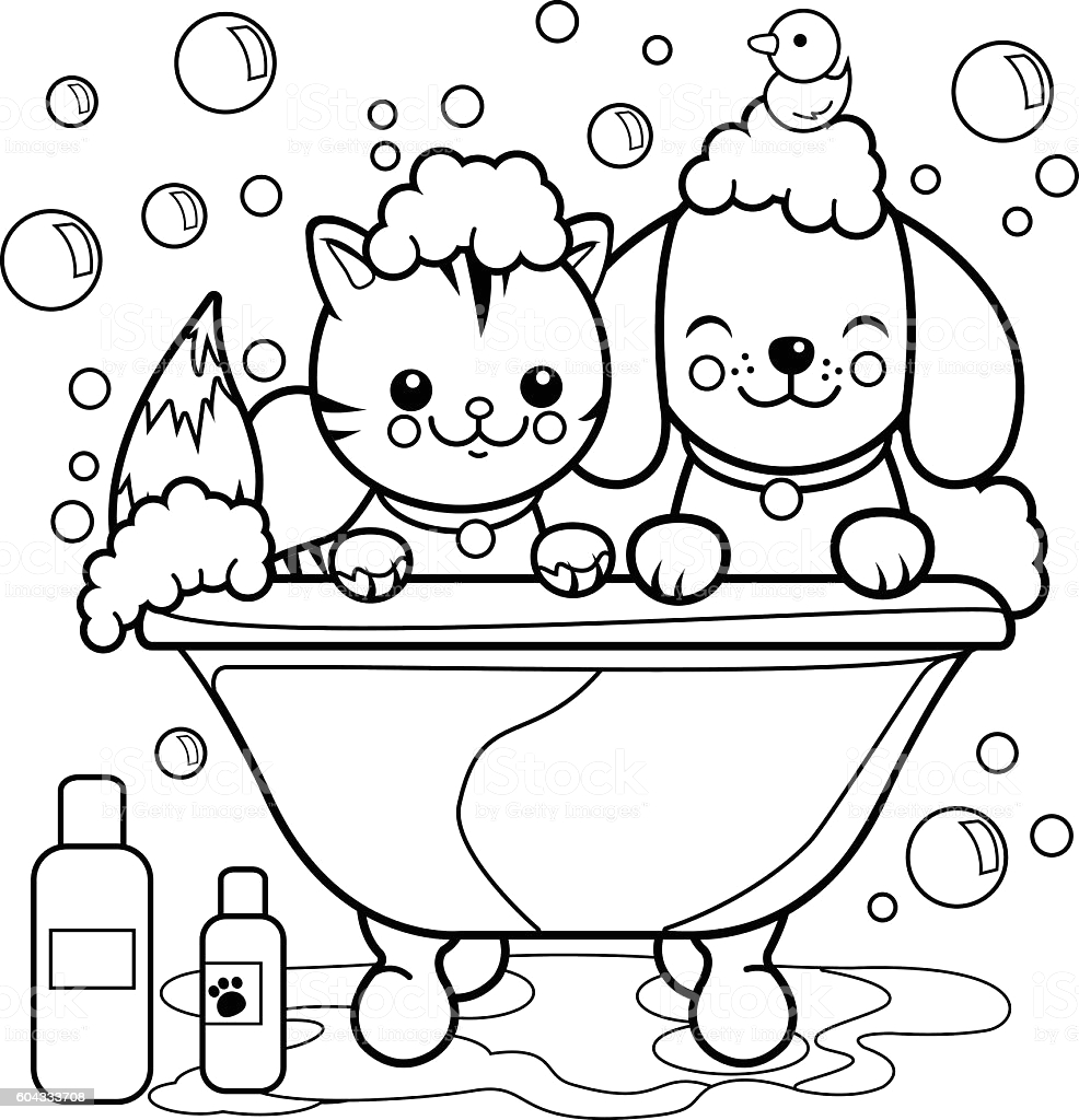 dog and cat taking a bath coloring page gm