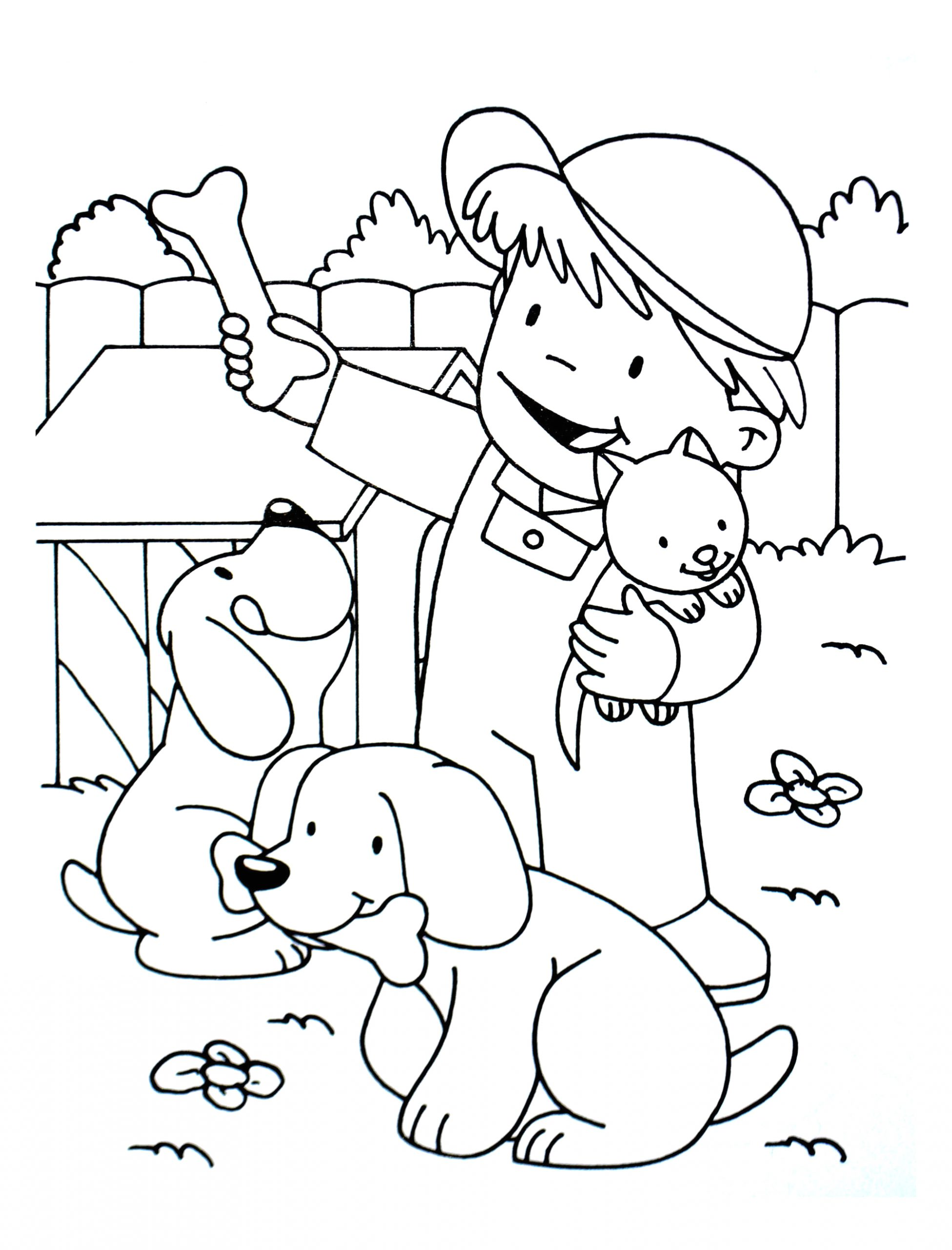 image=kids animals coloring kid with a cat and two dogs 1