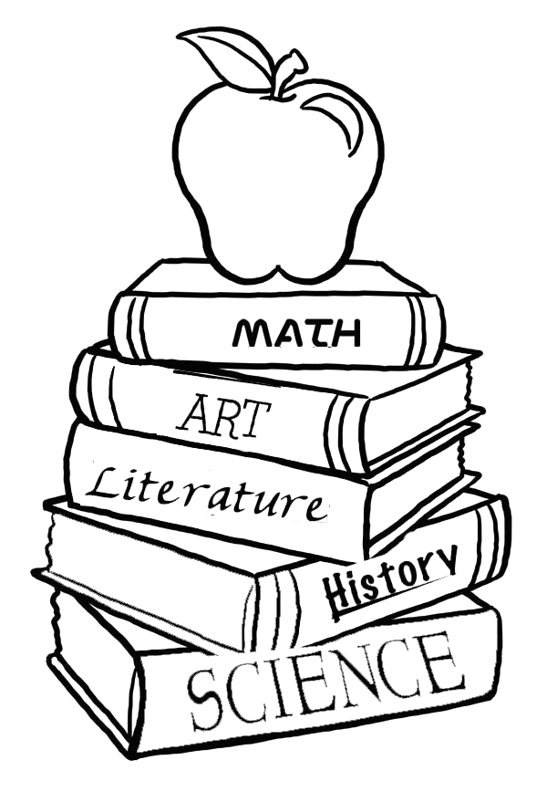 a pile of school books for the first day of school coloring page