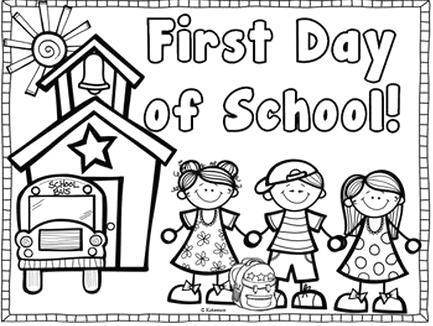 First Day Of School Preschool Coloring Pages Printable First Day Of School Coloring Page
