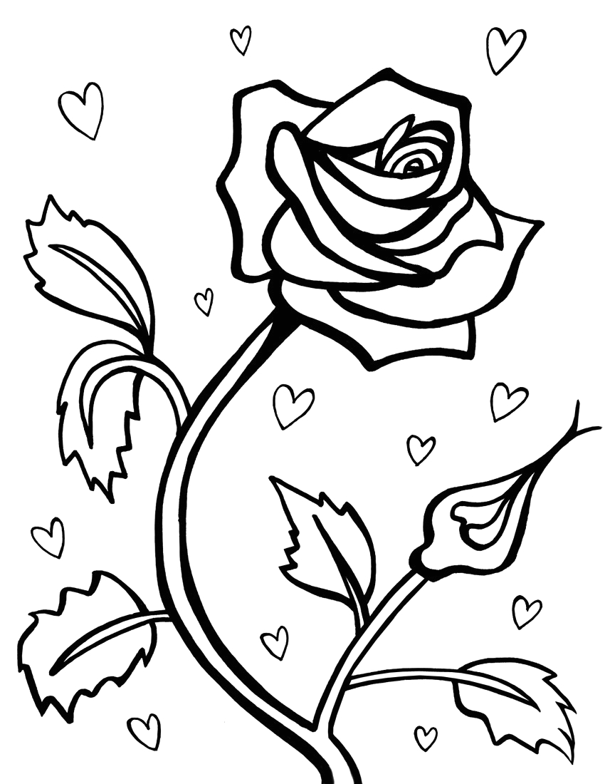 Free Coloring Pages Of Hearts and Roses Free Printable Roses Coloring Pages for Kids