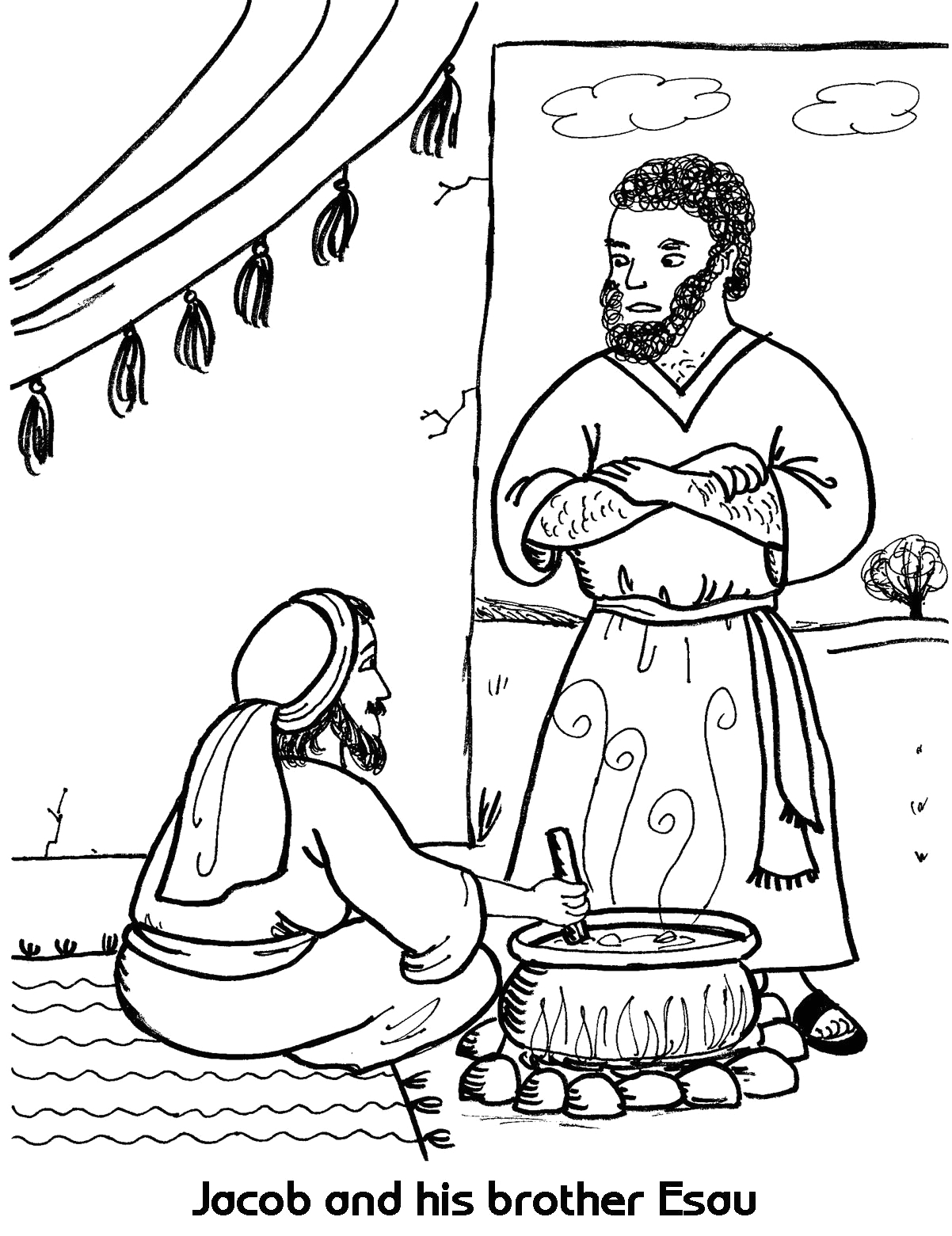 Free Coloring Pages Of Jacob and Esau Jacob Meets Esau Coloring Pages Coloring Home