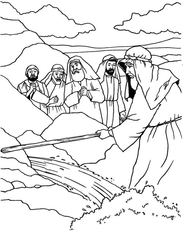 Free Coloring Pages Of Moses and the Rock Moses Strike His Stick to the Rock Coloring Page Color Luna