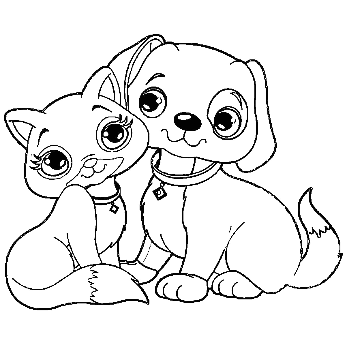 puppy and kitten drawing
