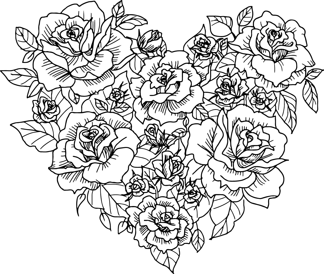 heart rose sketch coloring page