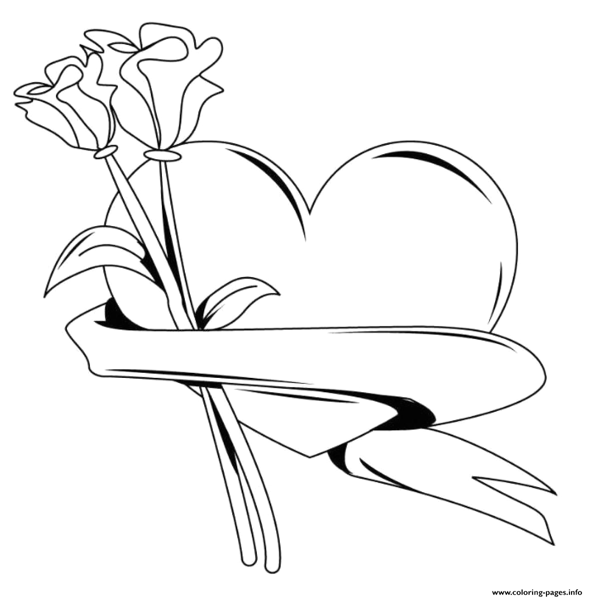 Free Coloring Pages Of Roses and Heart Heart with Roses Valentines S516b Coloring Pages Printable