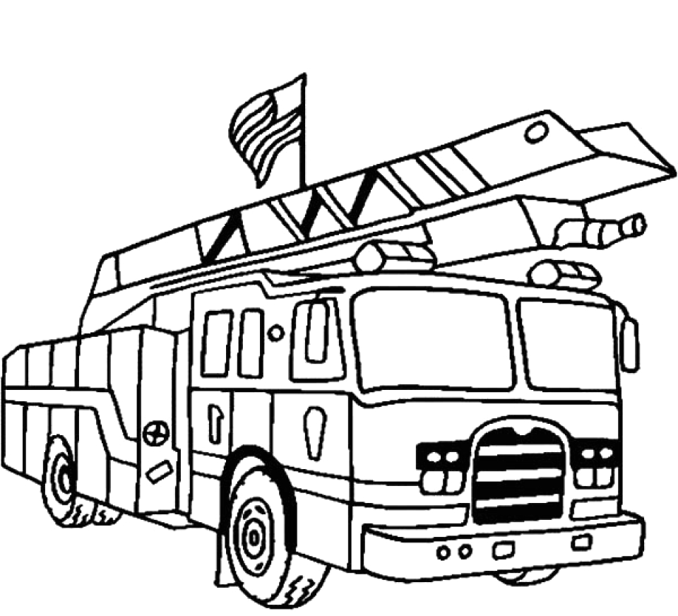 kids printable fire truck coloring page free online