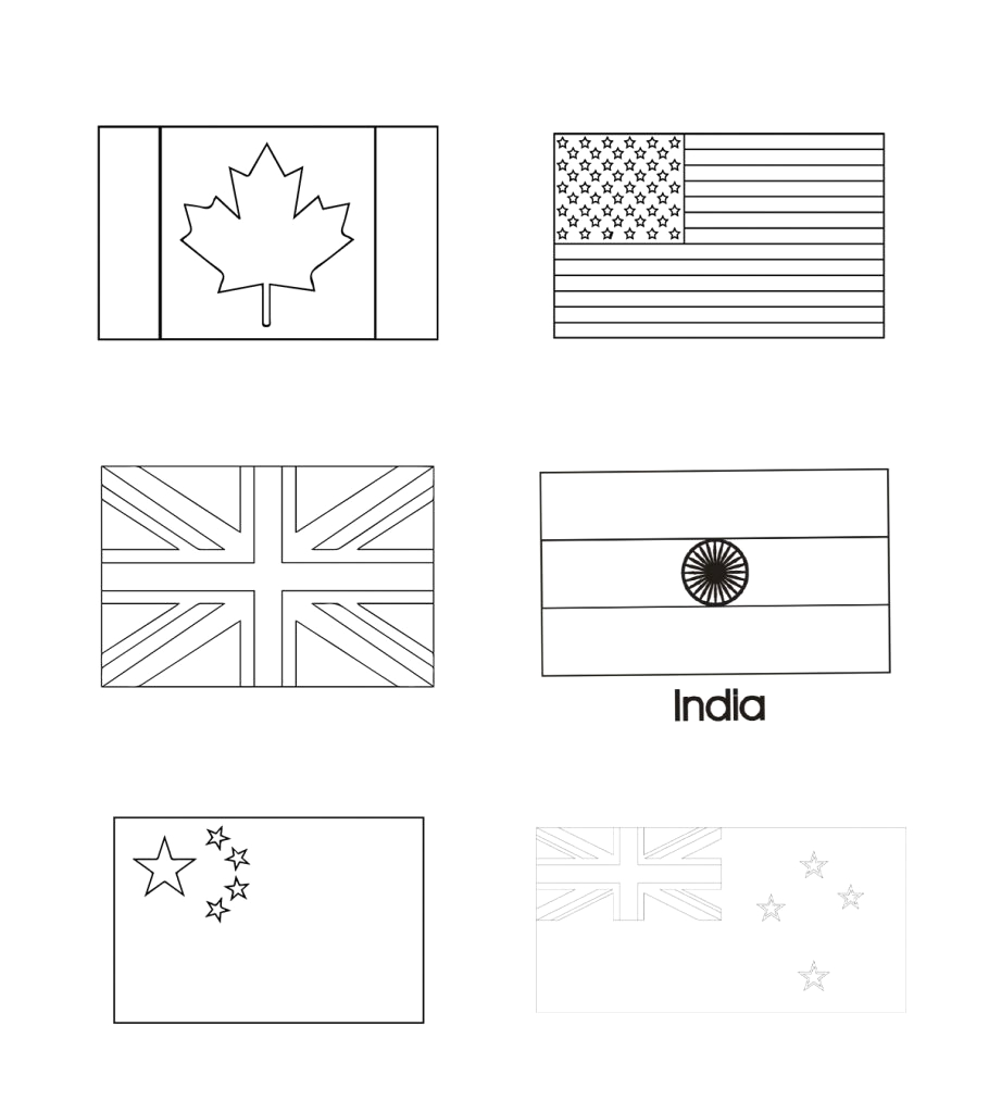 country and world flags coloring pages for your toddler