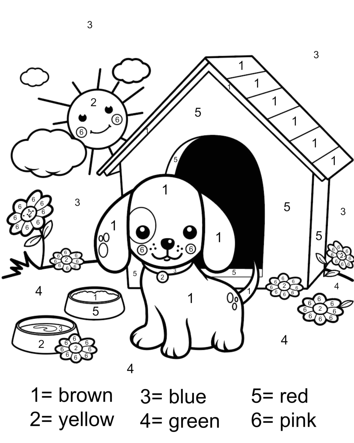 color number coloring page free printable