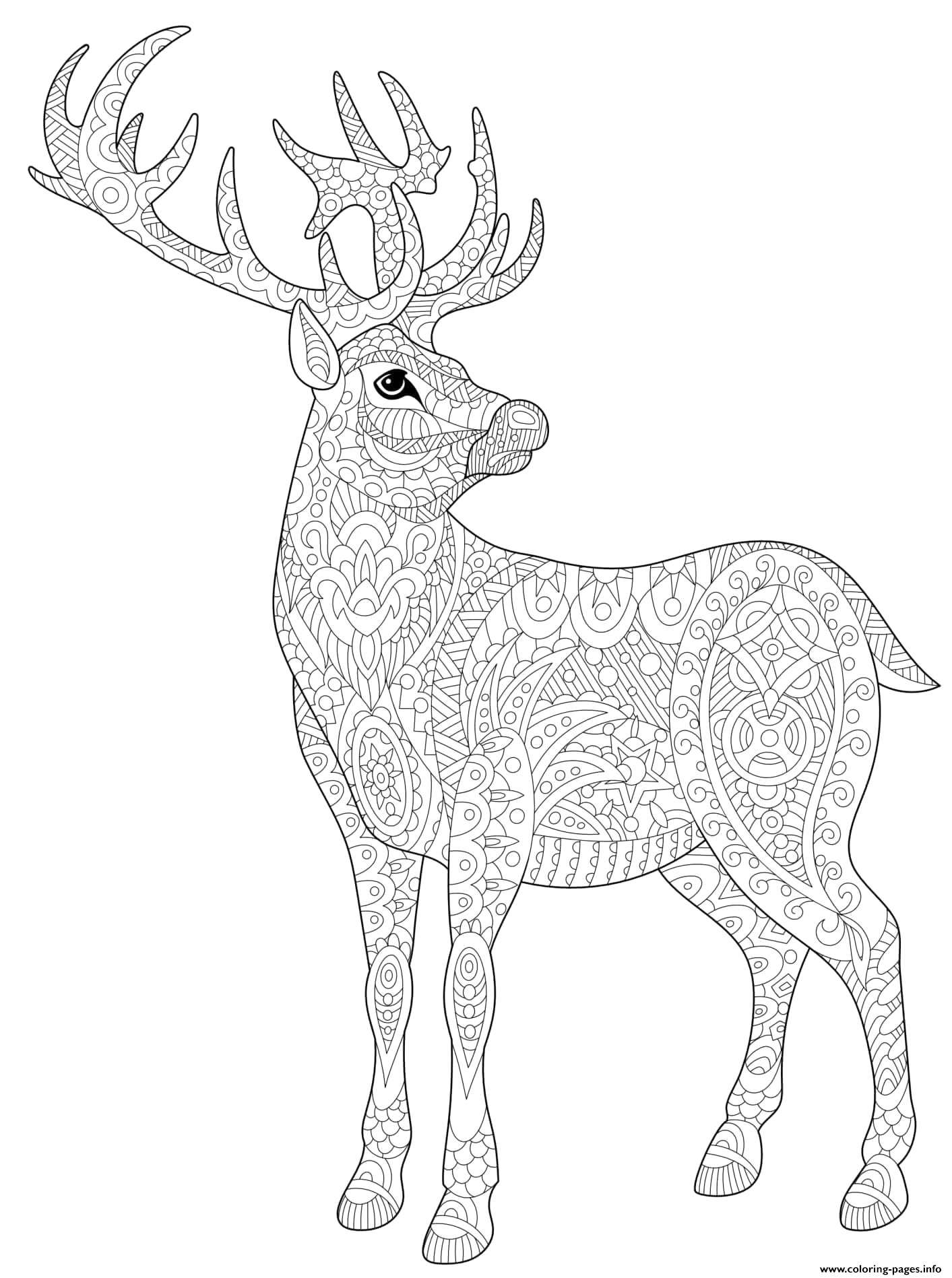 christmas for adults stag deer reindeer doodle printable coloring pages book