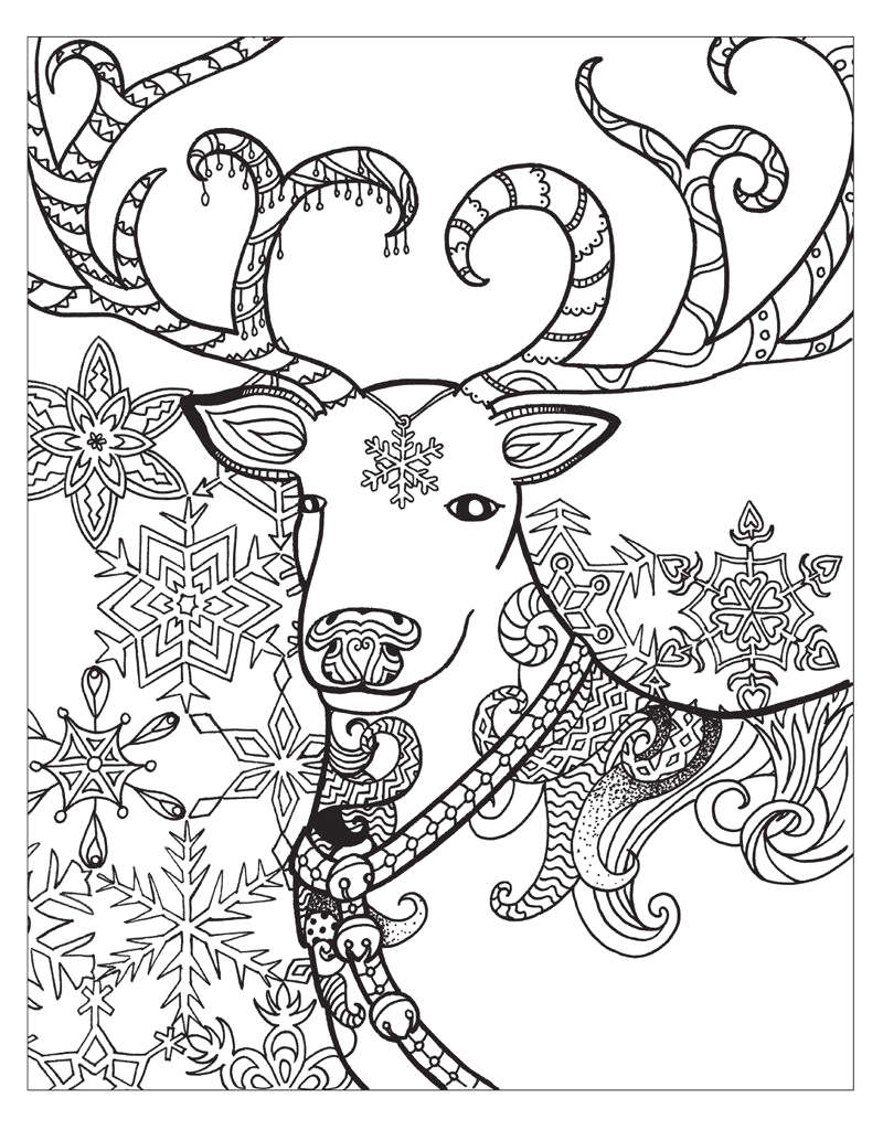deer in winter coloring page for adults