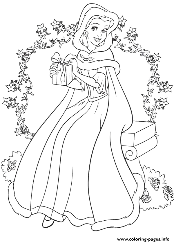 princess belle christmas printable coloring pages book
