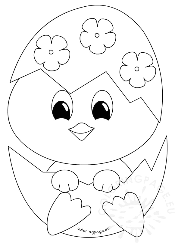 easter coloring page baby chick