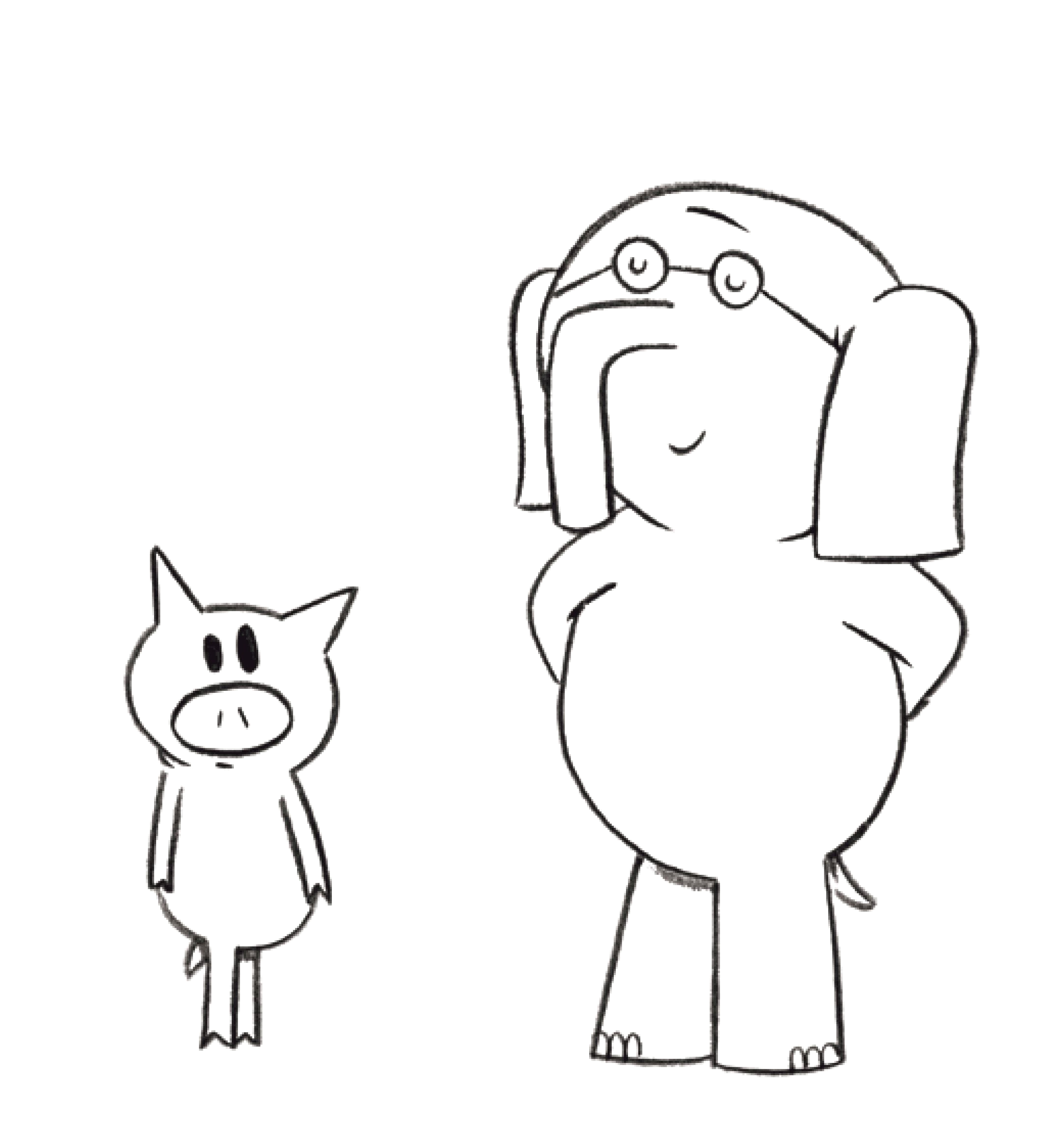 Free Printable Elephant and Piggie Coloring Pages Mo Willems Coloring Pages Elephant and Piggie Coloring Home