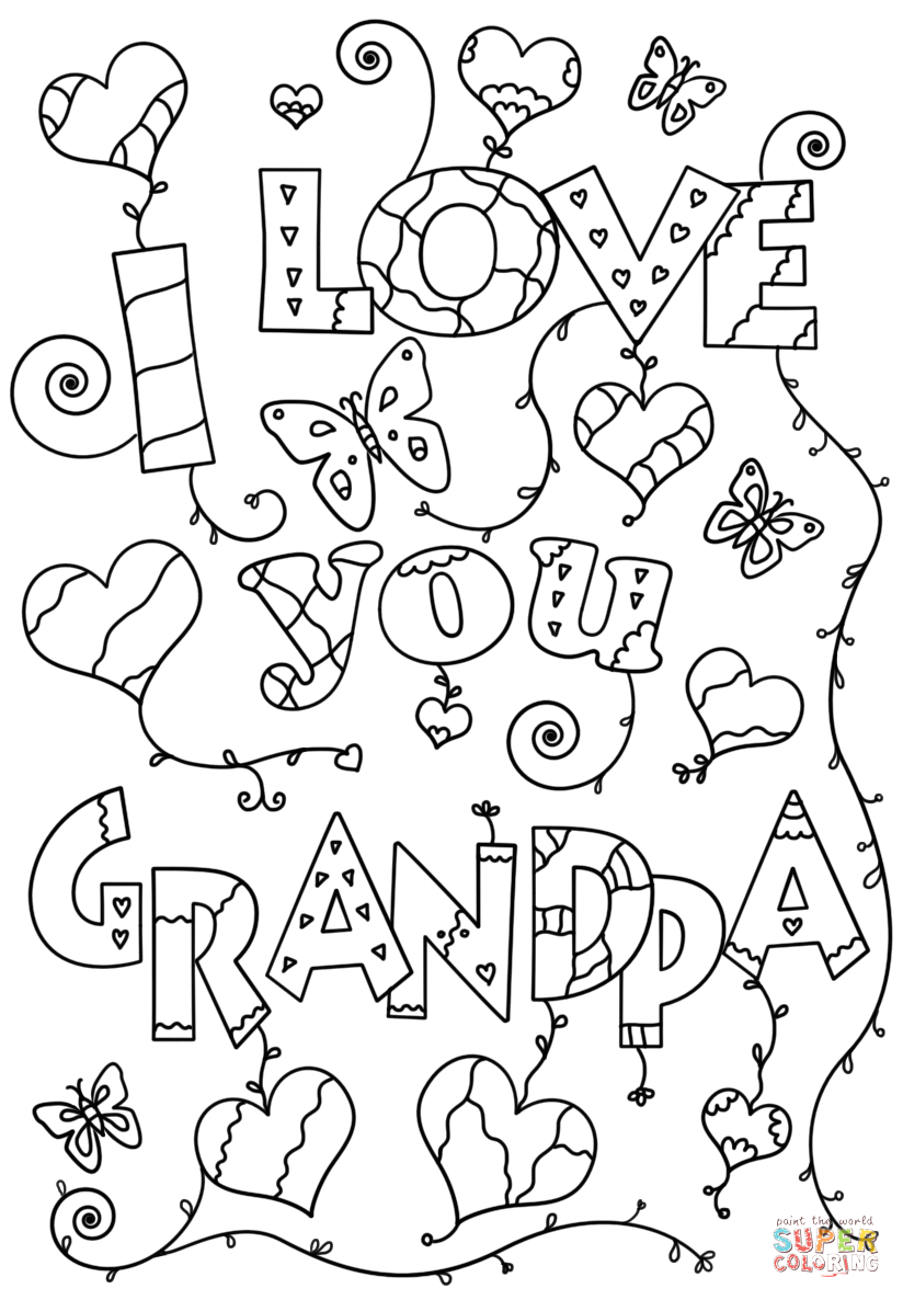 Free Printable Fathers Day Coloring Pages for Grandpa I Love You Grandpa Coloring Page