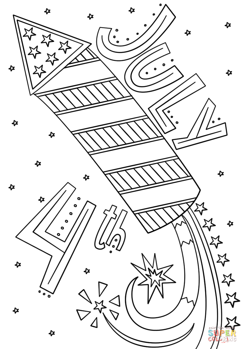 Free Printable Fourth Of July Coloring Pages Fourth Of July Fireworks Doodle Coloring Page