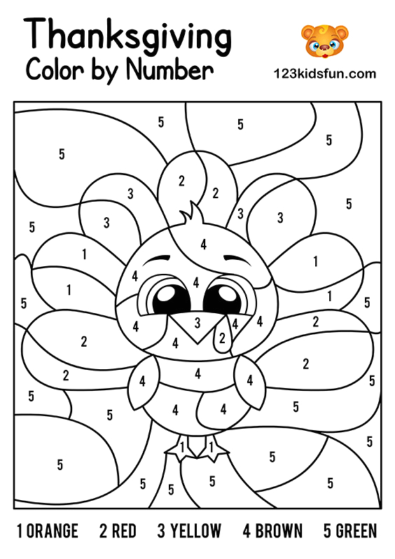 Free Thanksgiving Color by Number Printable Pages 13 Enjoyable Thanksgiving Color by Number Worksheets