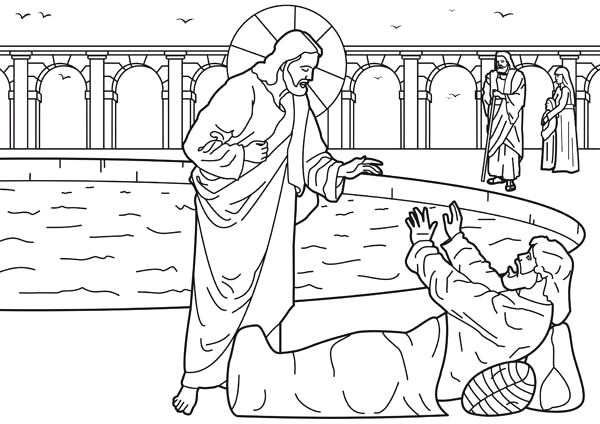 Healing at the Pool Of Bethesda Coloring Page Healing Of the Man at the Pool Of Bethesda is E Of