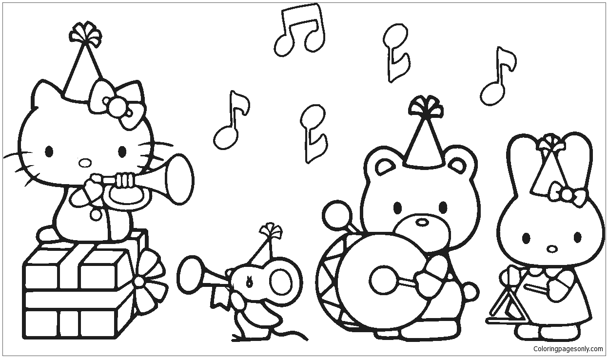 Hello Kitty and Her Friends Coloring Pages Hello Kitty with Her Friends In the Birthday Party