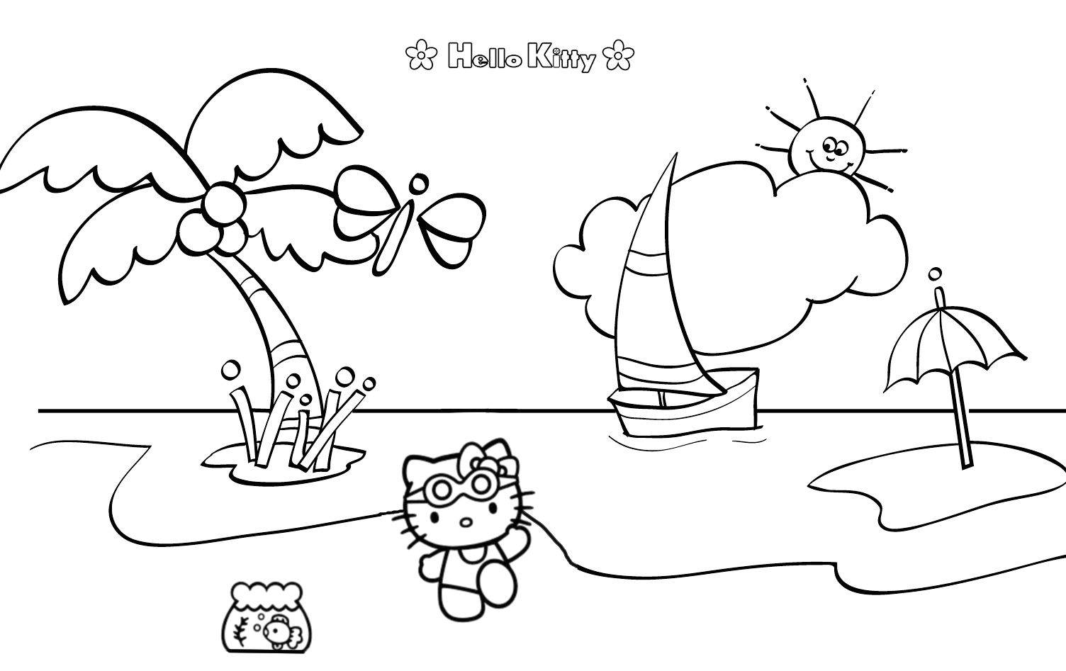 Hello Kitty at the Beach Coloring Pages Hello Kitty at the Beach Mad About Kitty