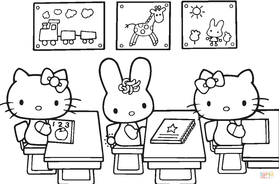Hello Kitty Back to School Coloring Pages Hello Kitty Back to School Coloring Page
