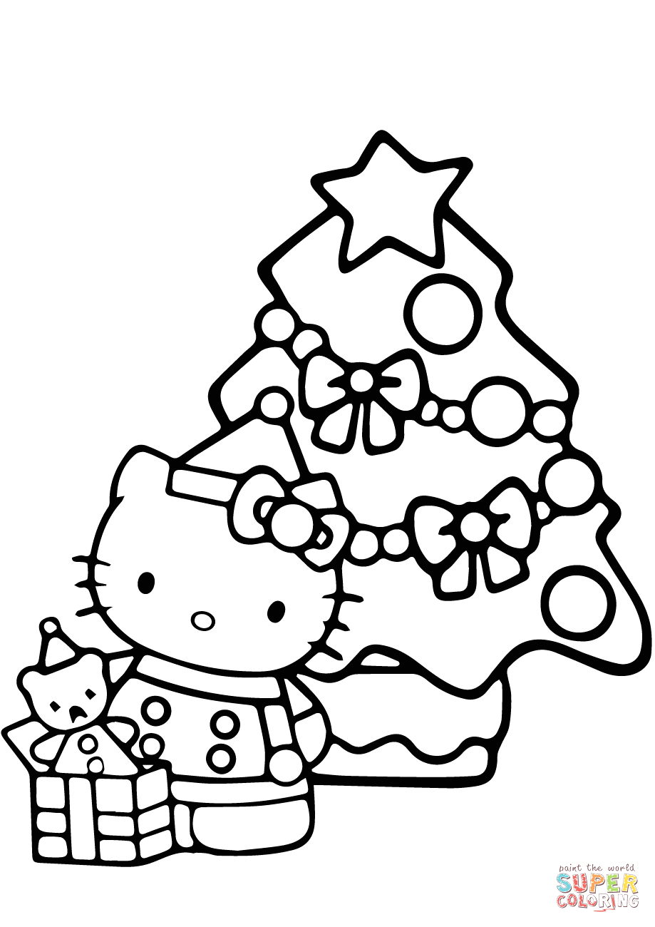 Hello Kitty Christmas Coloring Pages to Print Hello Kitty Christmas Coloring Page