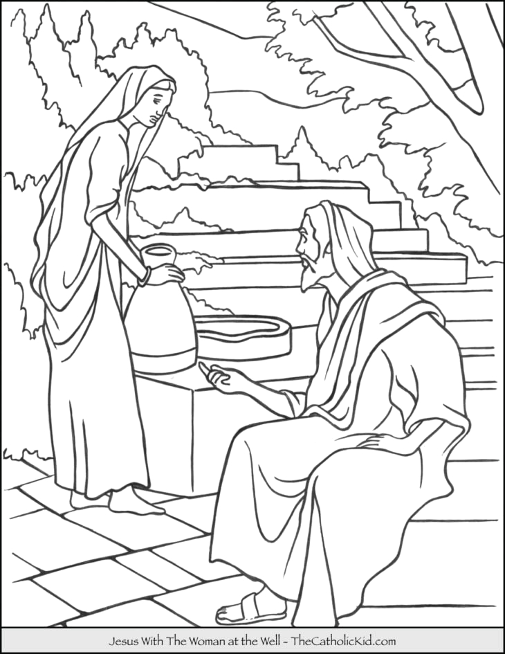 Jesus and the Woman at the Well Coloring Page the Catholic Kid Catholic Coloring Pages and Games for