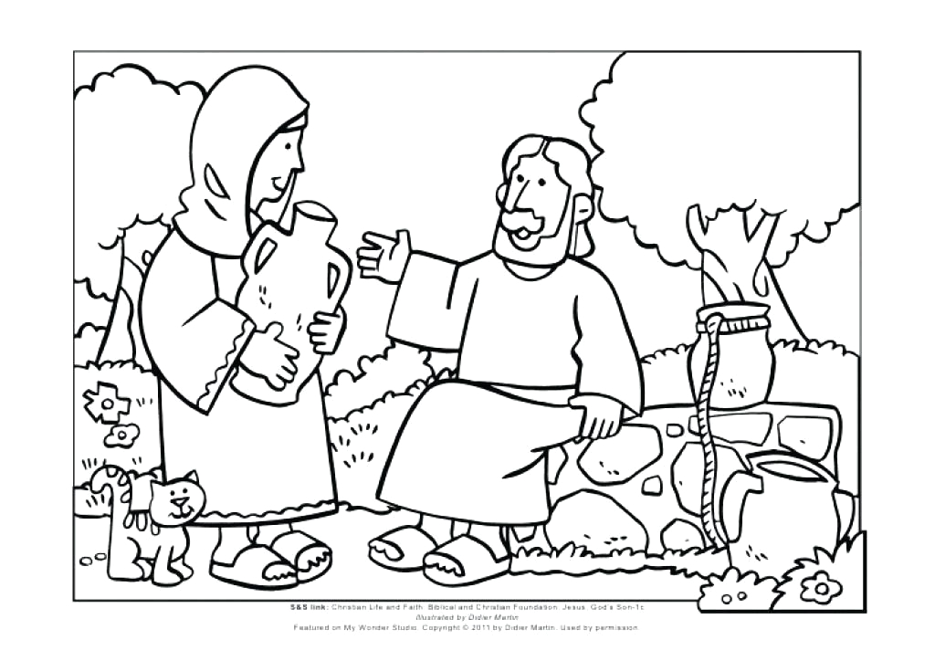 Jesus and Woman at the Well Coloring Page Samaritan Woman at the Well Coloring Page Remarkable Woman