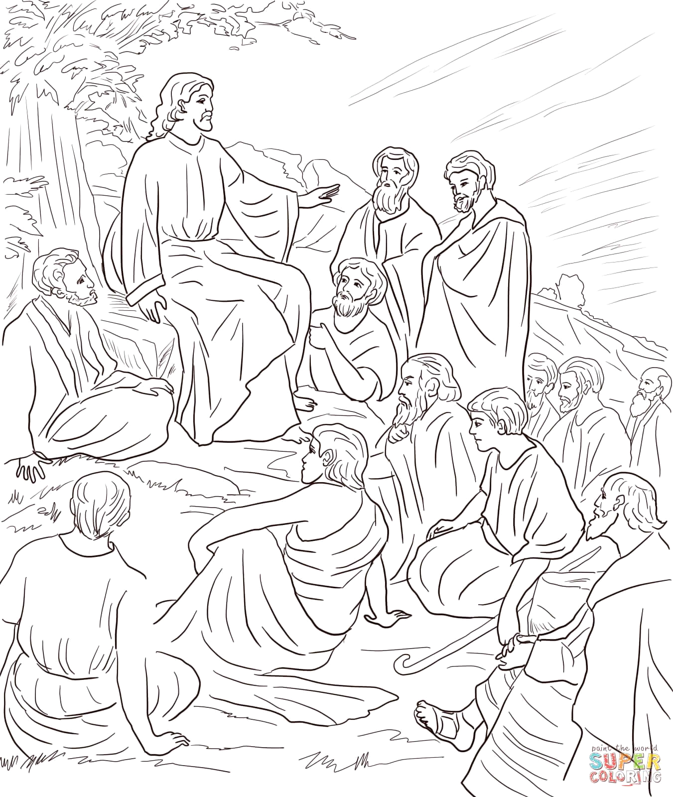 jesus talks with disciples coloring