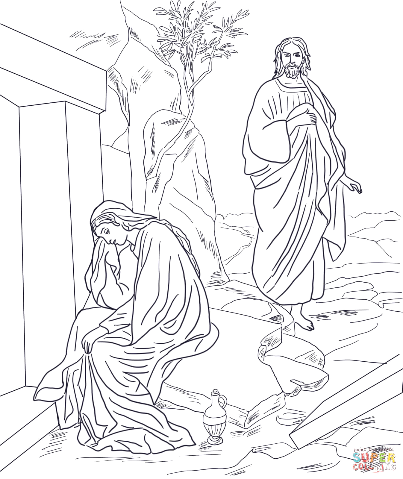 Jesus Appears to Mary Magdalene Coloring Page Jesus Appears to Mary Magdalene after Resurrection