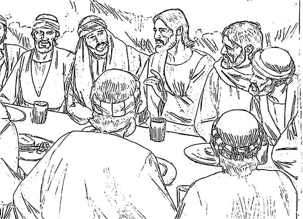 jesus and apostles in the last supper coloring page
