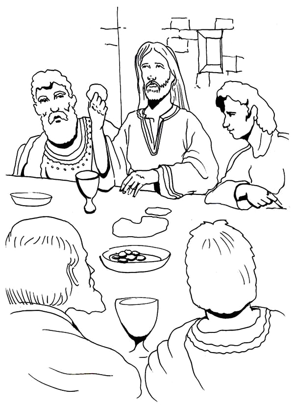 jesus eating in the last supper coloring page