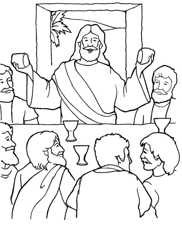 Jesus at the Last Supper Coloring Page Last Supper Jesus In the Last Supper Coloring Page Jesus