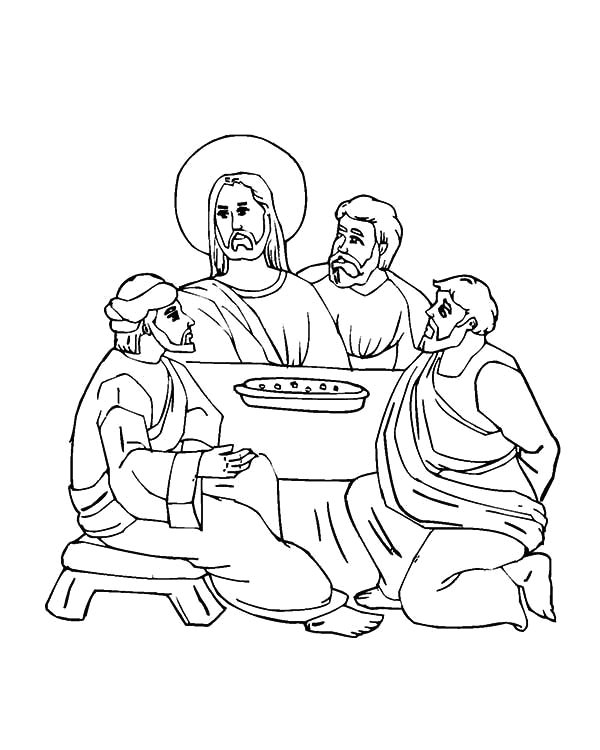 the last meal of jesus in the last supper coloring page