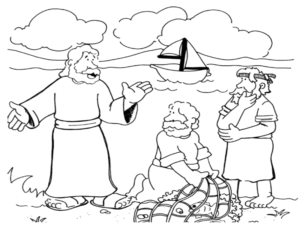 jesus calling his disciples coloring pages