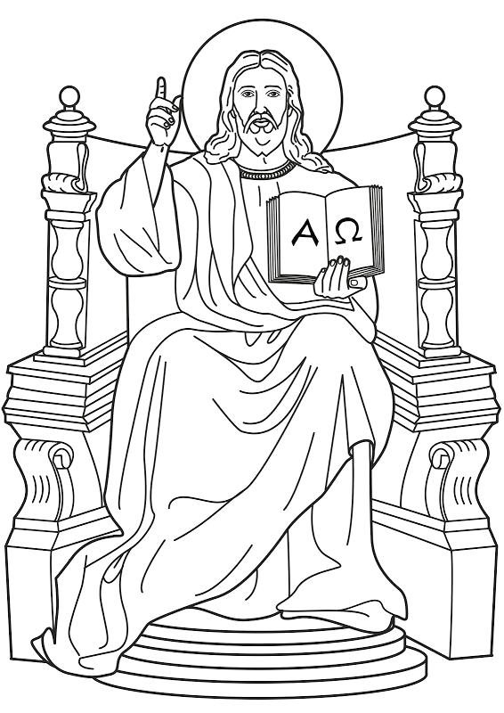 jesus in the throne in heaven clipart
