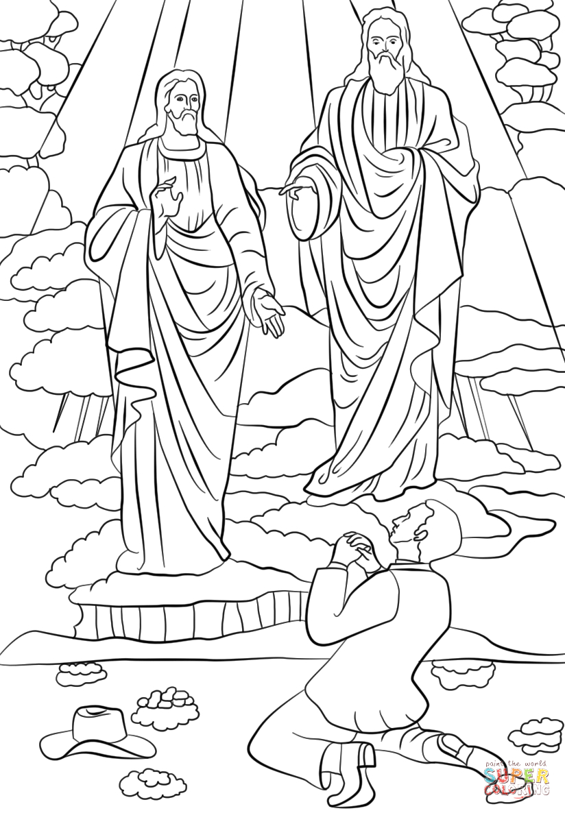 Lds Coloring Pages Joseph Smith First Vision Joseph Smith First Vision Coloring Page