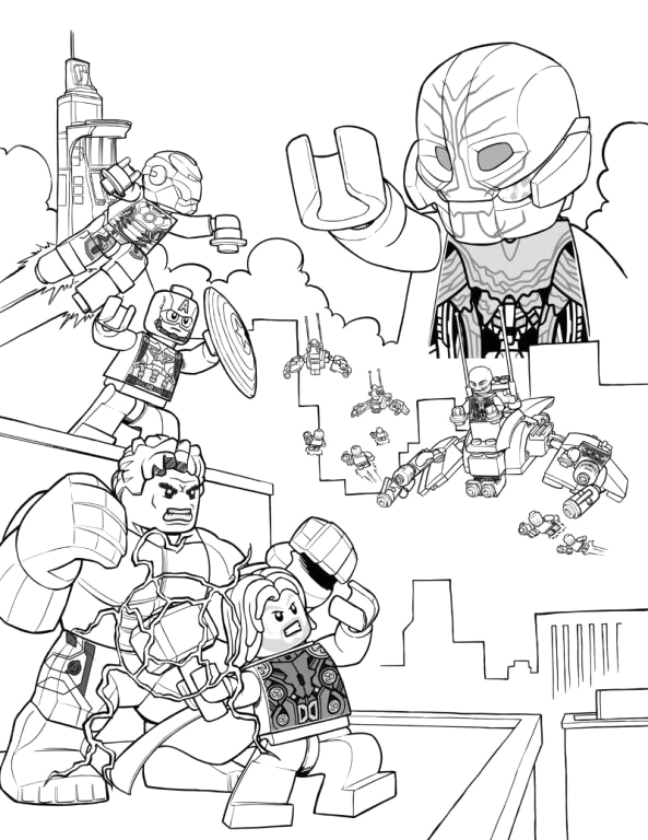 Lego Avengers Age Of Ultron Coloring Pages Kids N Fun