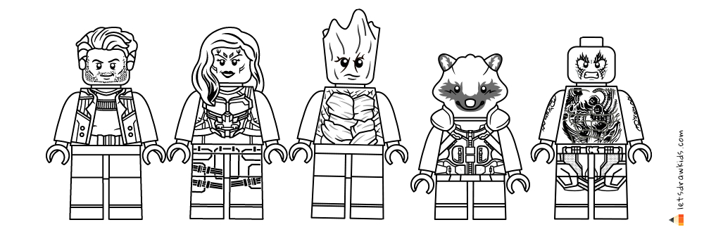 Lego Guardians Of the Galaxy Coloring Pages Printable Coloring Pages for Kids