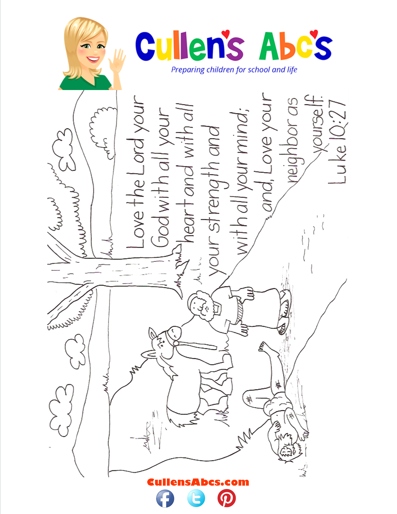 bible key point coloring page love the lord with all your heart