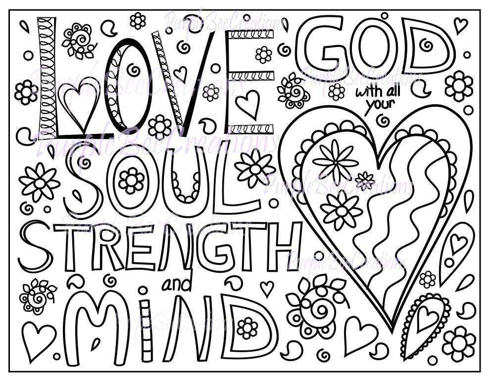 Love the Lord with All Your Heart Coloring Page Coloring Page Bible Verse Coloring Page Love God with All